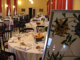 披露宴会場と招待客の席次ボード