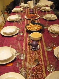 すき焼きディナーのテーブルセッティング。洋風です。。。