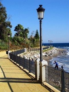 家から歩いてすぐの海岸。海と空の青が全く冬らしくなくて鮮やかです。