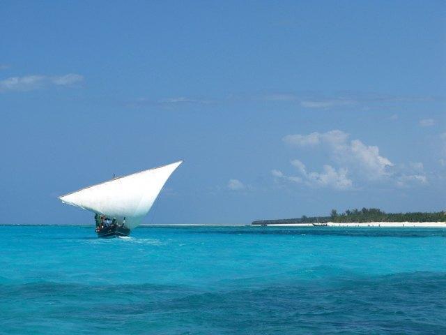 帆を張った船。かなりの早さで進みます。
