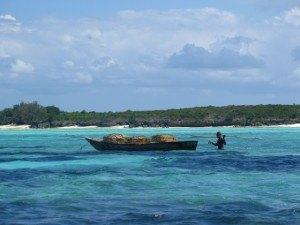 釣りをしている人。漁の仕方はかなり原始的。水が澄んでいて魚がすぐ見えるからでしょうか。
