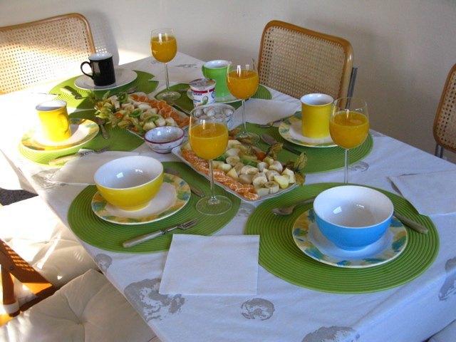 夫の両親の家での朝食風景。食器は全てVilleroy & Bochです。上質なポップという感じで、朝から元気になります。