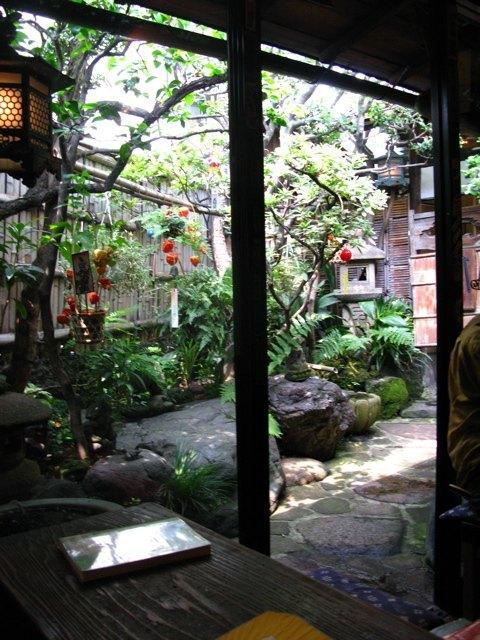 店内から見る中庭。とても趣があって落ち着きます。