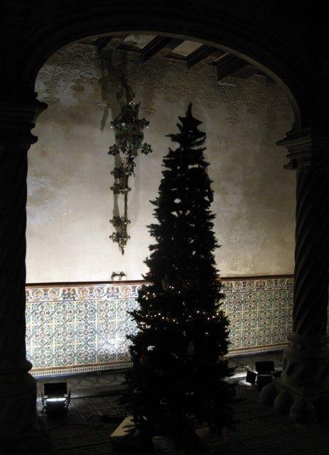バルセロナのチョコレートショップの入口にあったツリー。古い建物とタイルにもみの木の美しさが映えていました。