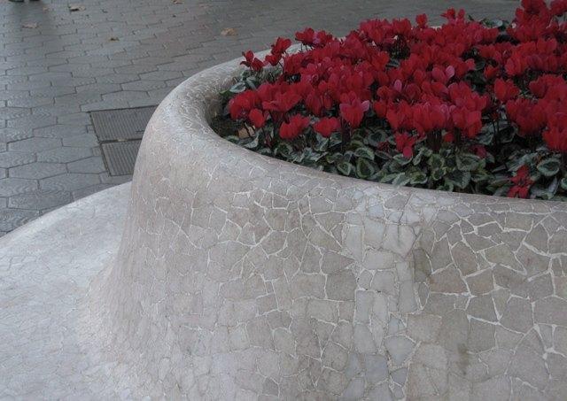 通りにあるベンチと赤のシクラメンのコントラスト。思わず写真を撮ってしまいました。