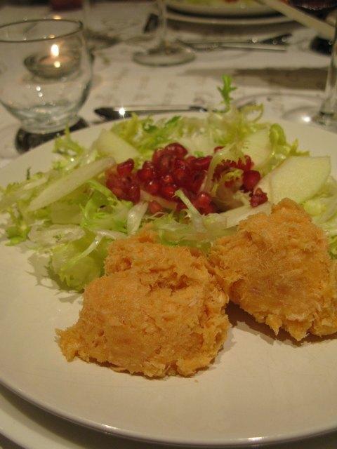 柘榴のサラダとサーモンのペースト(rillette)