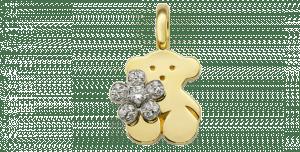 花を持ったクマ。ゴールドとホワイトゴールド使用。