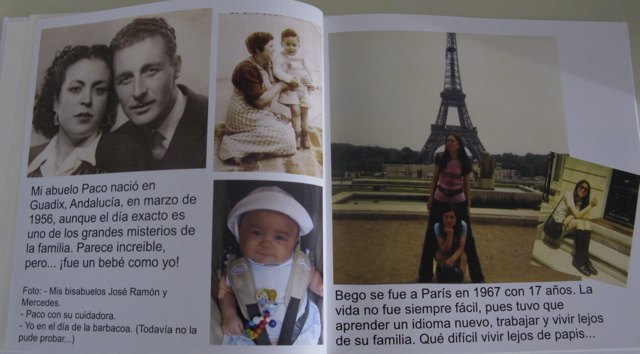 義父の両親と、子供時代の義父。かおりとかなり似ています。右ページはパリ時代の義母。お洒落です。
