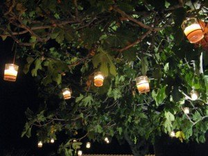 会場の木につけられたロウソクが温かい雰囲気を醸し出していました。