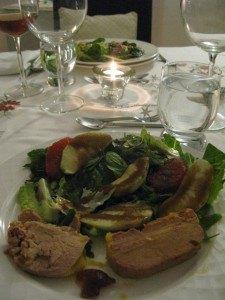 フォワグラ2種と、リンゴとグレープフルーツのサラダ。