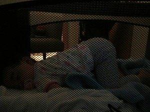 旅行中は私たちと一緒に寝ていたので、朝はこの通り虫のように寝ていました。