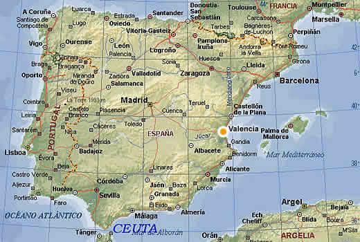 バレンシアの位置。地図はhttp://www.reservas.netより。