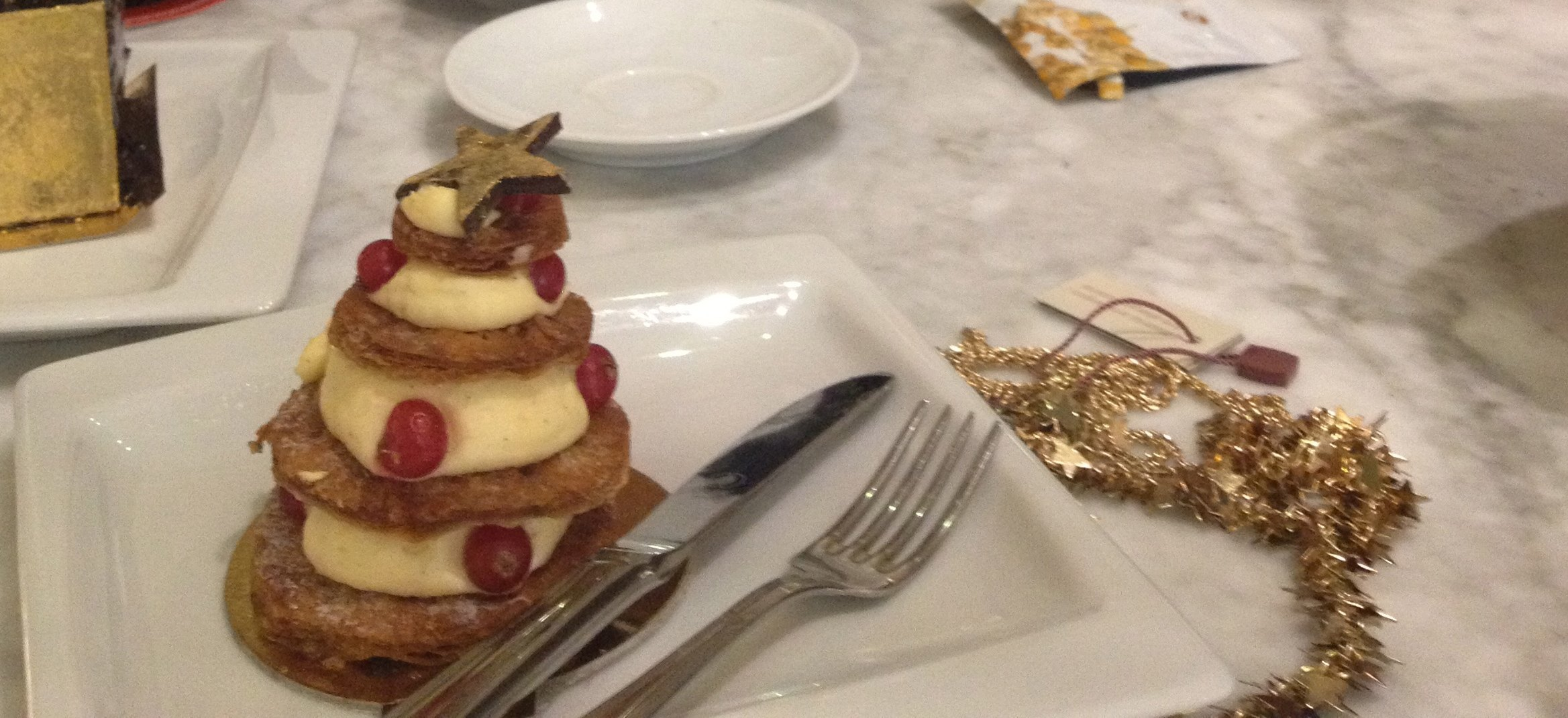 カフェテリアのケーキとネックレス。友人撮影。