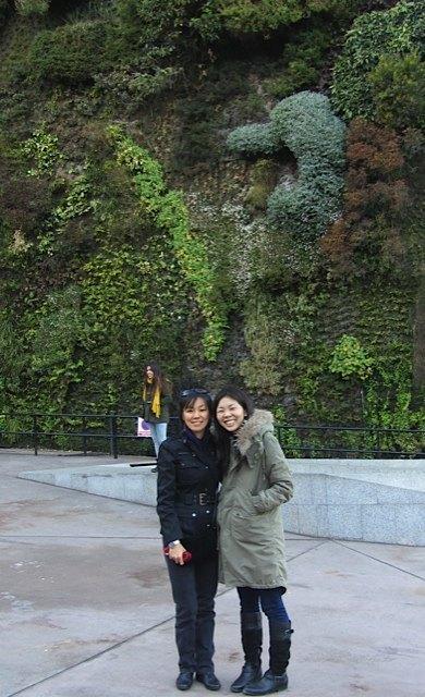 友人と一緒にプラド美術館の近くの「垂直庭園(jardín vertical)」にて。
