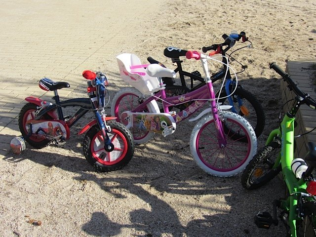 公園には新しい自転車が一気に増えます。