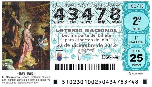 これが噂の宝くじ。どこの地域で買っても同じ図柄です。www.fedema.esより。