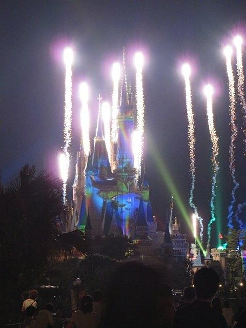 パレードの後の、シンデレラ城に映像を映し出すショーも観ることができました。