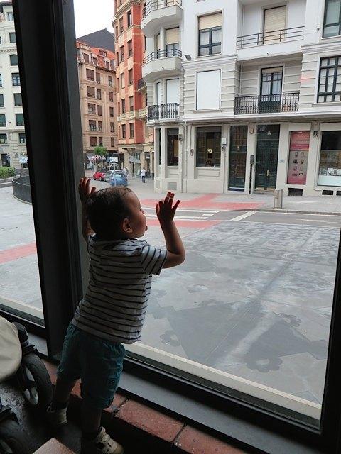 あなた、窓ガラスは舐めるものじゃありませんよ!
