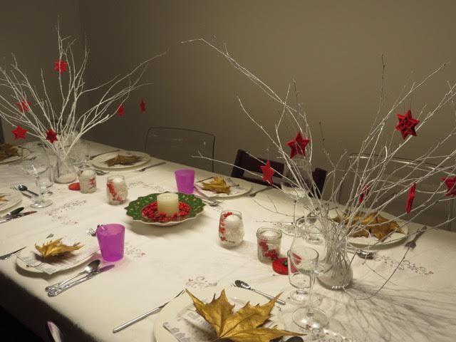 クリスマスイブのテーブル。イブは子供が好きそうな赤とゴールドをメインにしました。