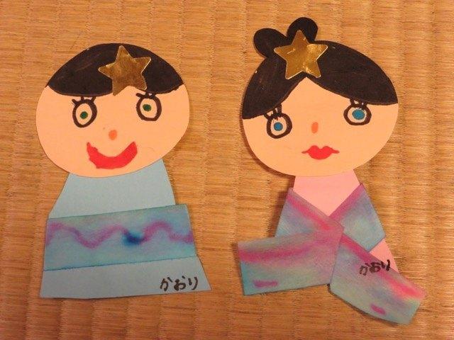 娘の作った織姫と彦星は青と緑の目でした。クラスでも娘だけだったようです。